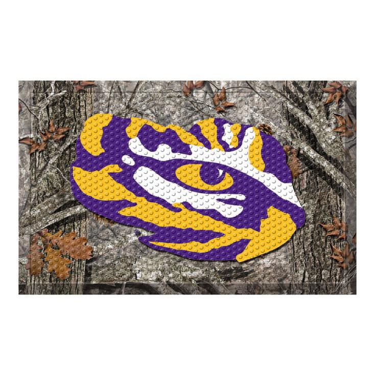 "19"" x 30"" Louisiana State University Rectangle Camo Scraper Mat - ""Tiger Eye"" Logo"