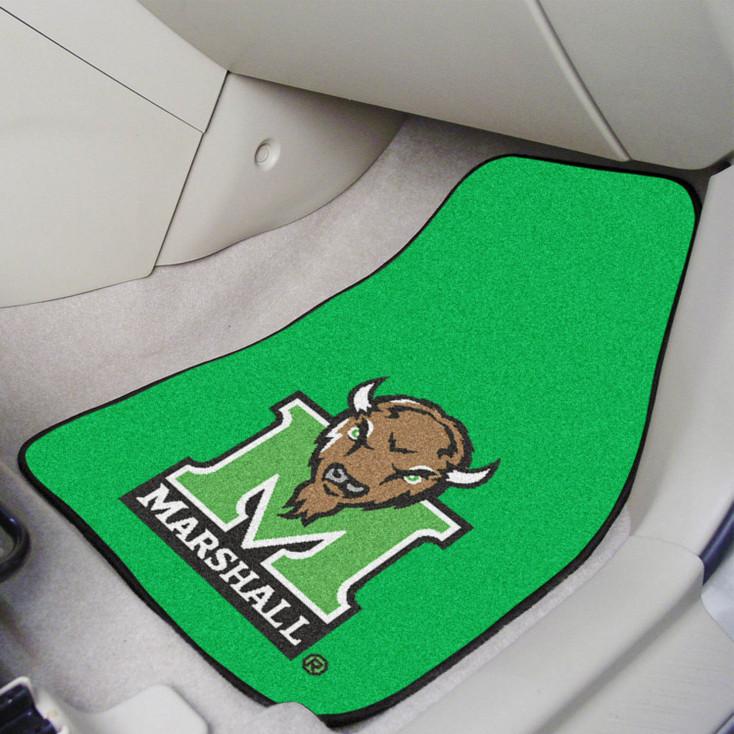 Marshall University Green Carpet Car Mat, Set of 2