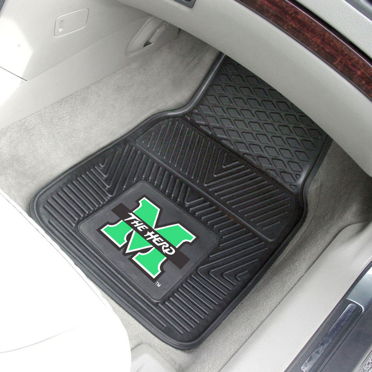 Marshall University Heavy Duty Vinyl Front Black Car Mat, Set of 2