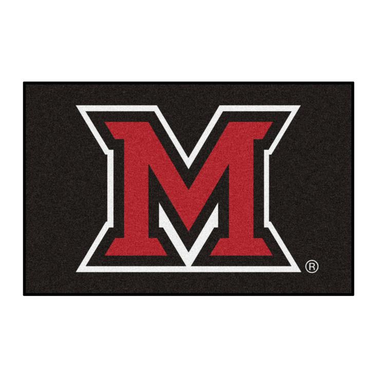 "19"" x 30"" Miami University (OH) Black Rectangle Starter Mat"