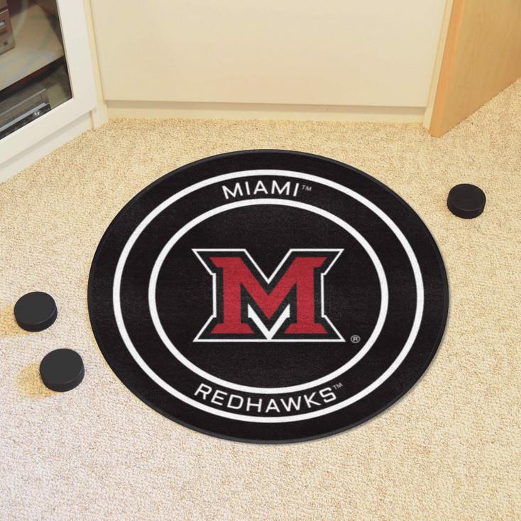 "27"" Miami University (OH) Puck Round Mat - ""Block M"" Logo"