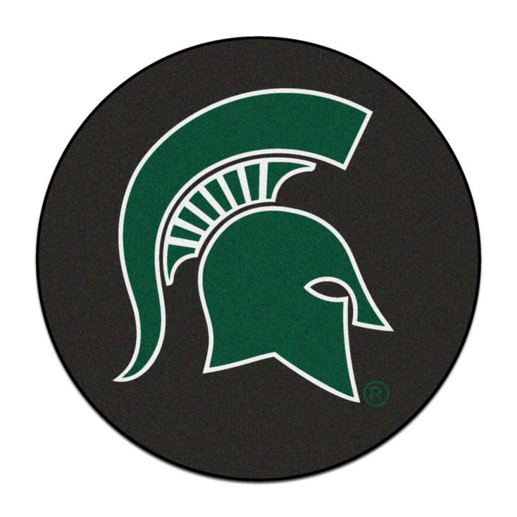"27"" Michigan State University Puck Round Mat - ""Spartan Helmet"" Logo"