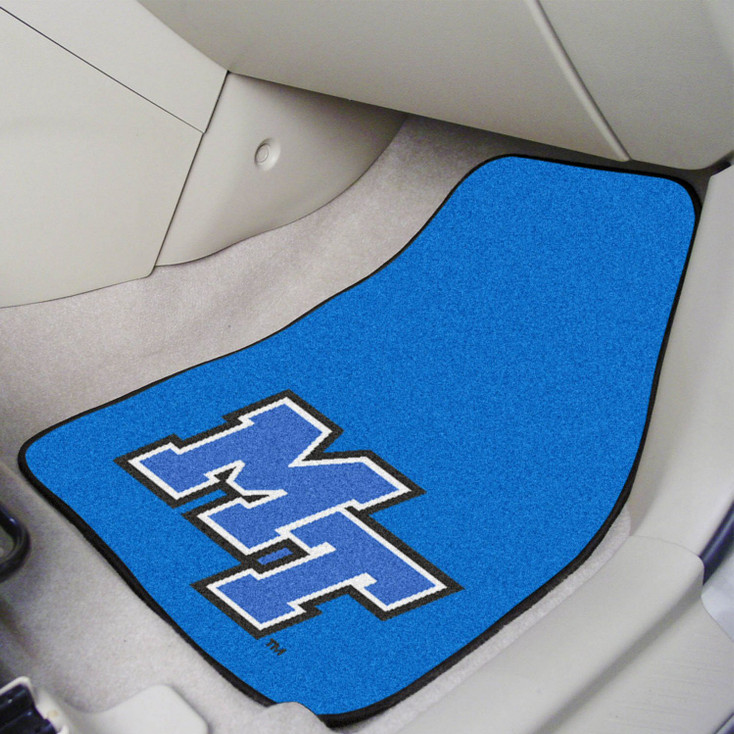 Middle Tennessee State University Blue Carpet Car Mat, Set of 2