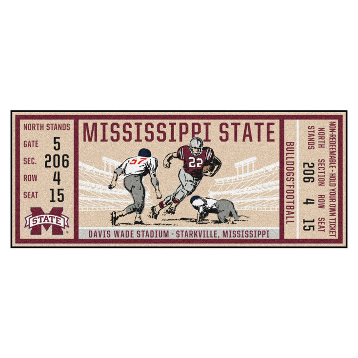 "30"" x 72"" Mississippi State University Ticket Rectangle Runner Mat"