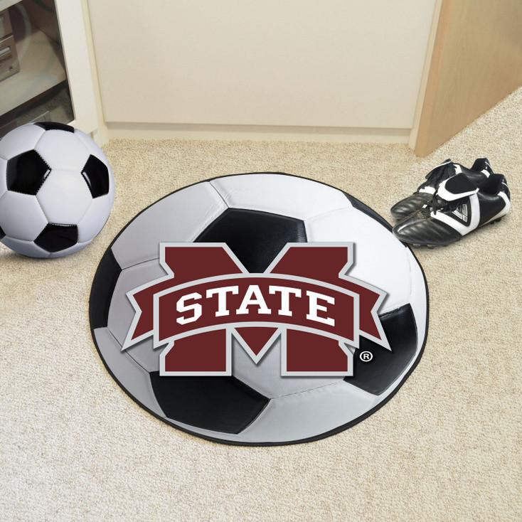 """27"""" Mississippi State University Soccer Ball Round Mat"""