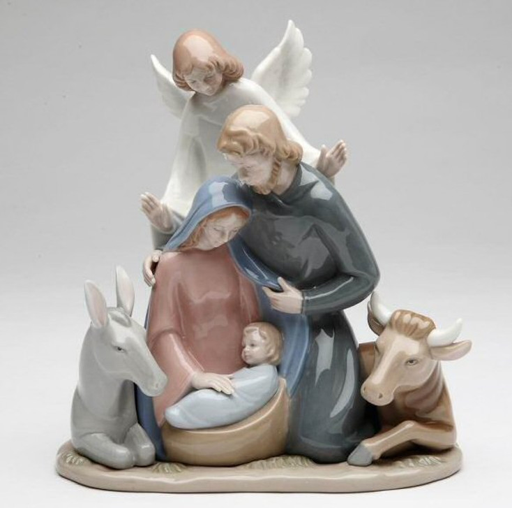 Angel with Holy Family Porcelain Sculpture