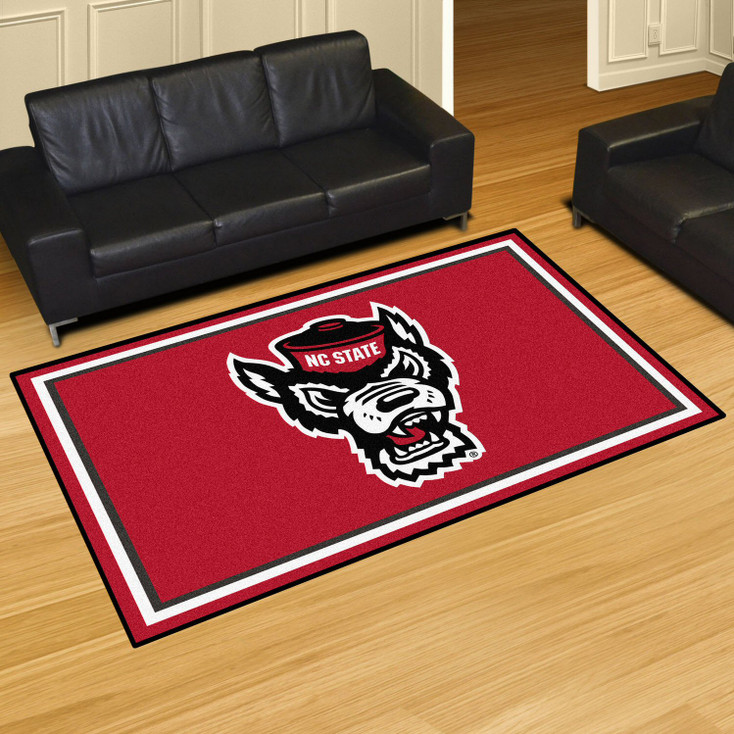 5' x 8' North Carolina State University Red Rectangle Rug