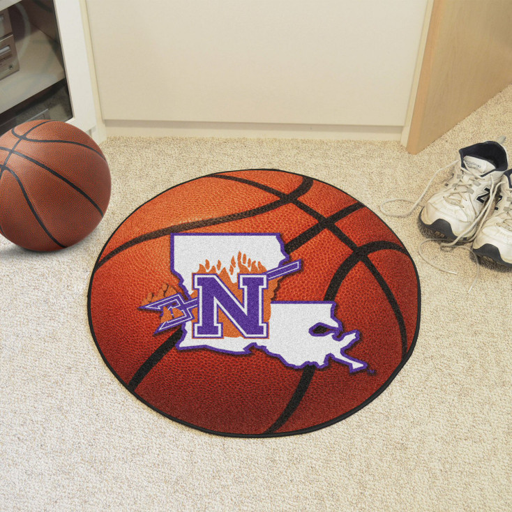 "27"" Northwestern Basketball Style Round Mat"