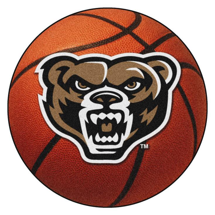 """27"""" Oakland University Basketball Style Round Mat"""