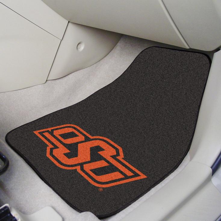 Oklahoma State University Black Carpet Car Mat, Set of 2