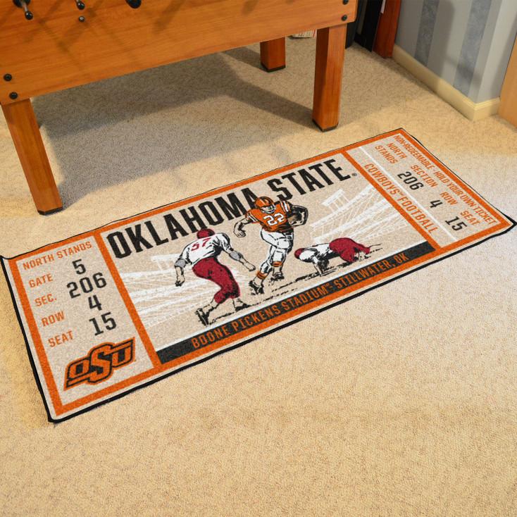 "30"" x 72"" Oklahoma State University Ticket Rectangle Runner Mat"