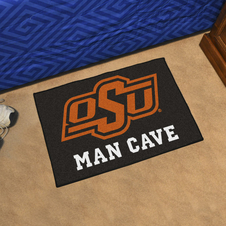 "19"" x 30"" Oklahoma State University Man Cave Starter Black Rectangle Mat"