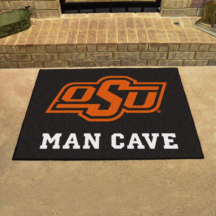 "33.75"" x 42.5"" Oklahoma State University Man Cave All-Star Black Rectangle Mat"