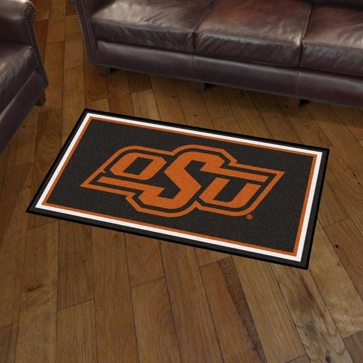 3' x 5' Oklahoma State University Black Rectangle Rug