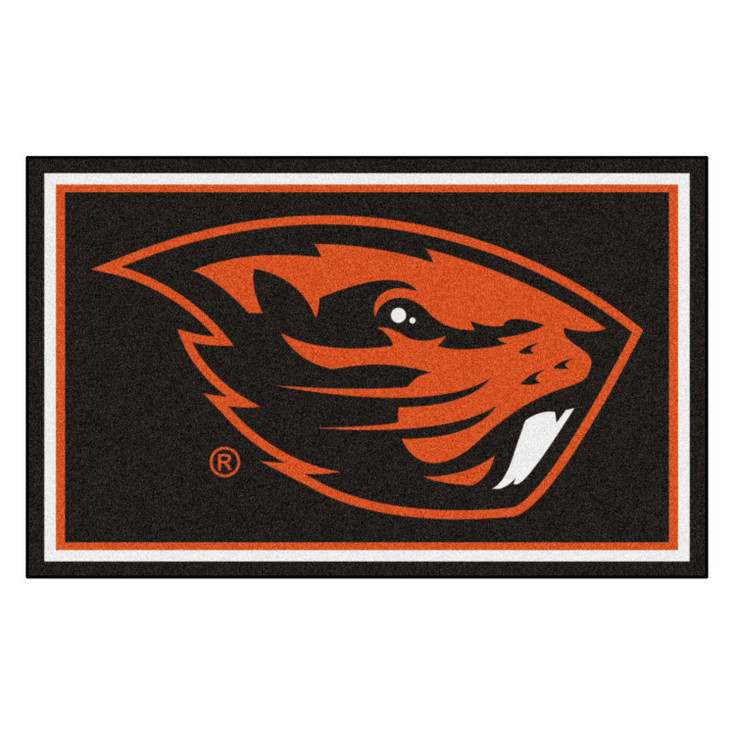 4' x 6' Oregon State University Black Rectangle Rug