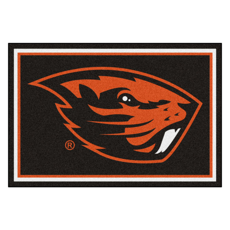 5' x 8' Oregon State University Black Rectangle Rug
