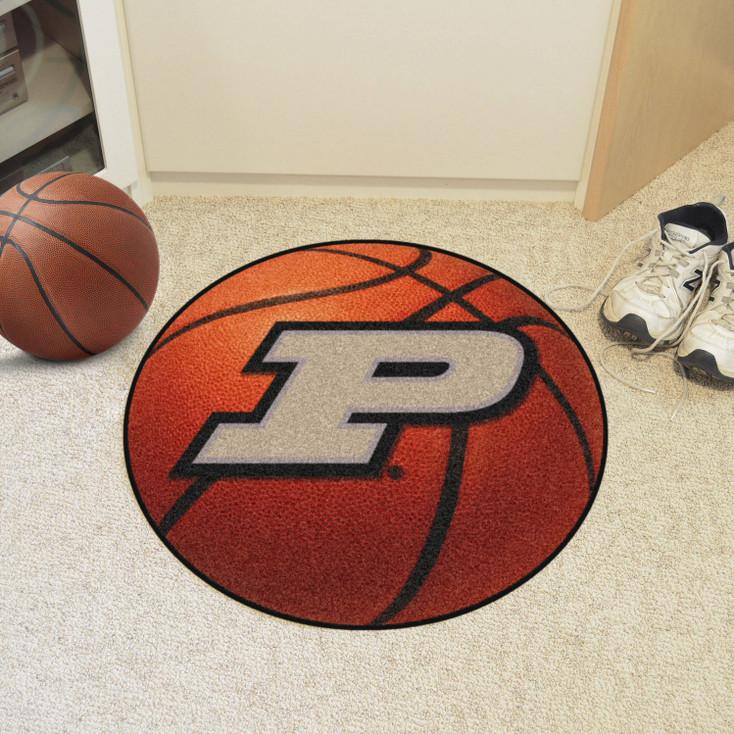 "27"" Purdue University Orange Basketball Style Round Mat"