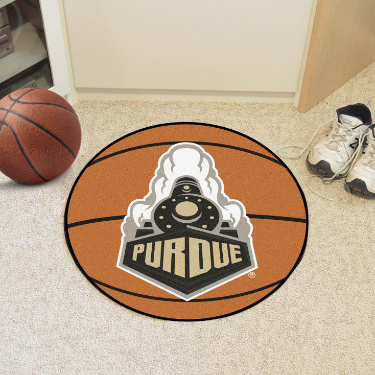 "27"" Purdue University Train Logo Orange Basketball Style Round Mat"