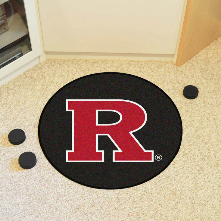 "27"" Rutgers University Puck Round Mat - ""Block R"" Logo"