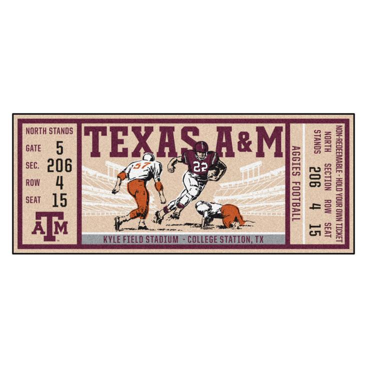 """30"""" x 72"""" Texas A&M University Ticket Rectangle Runner Mat"""