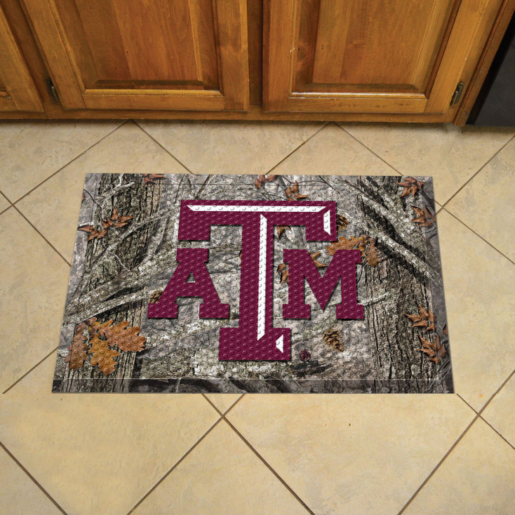"19"" x 30"" Texas A&M University Rectangle Camo Scraper Mat - ""ATM"" Logo"