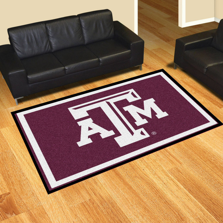 5' x 8' Texas A&M University Maroon Rectangle Rug