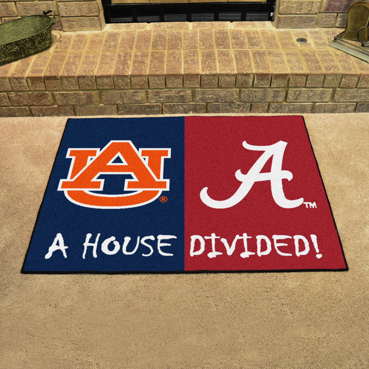 "33.75"" x 42.5"" Alabama / Auburn House Divided Rectangle Mat"