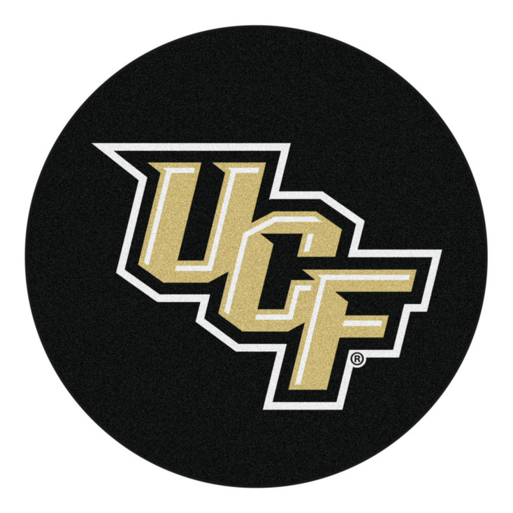 """27"""" University of Central Florida Puck Round Mat - """"UCF"""" Primary Logo"""