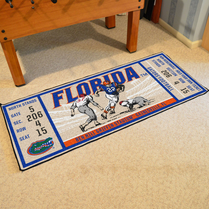 "30"" x 72"" University of Florida Ticket Rectangle Runner Mat"