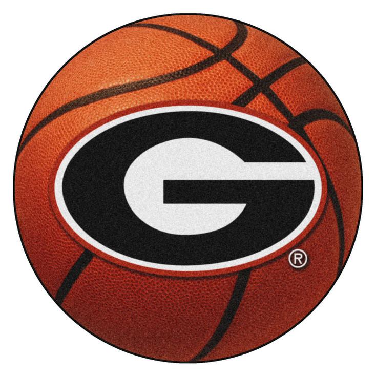 "27"" University of Georgia Red G Logo Orange Basketball Style Round Mat"