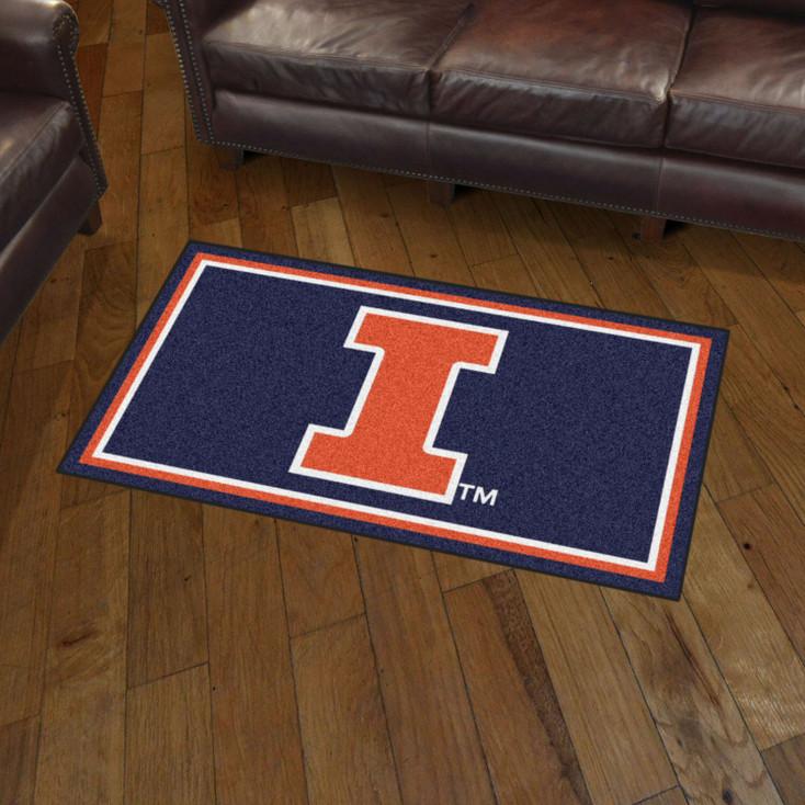 3' x 5' University of Illinois Navy Blue Rectangle Rug