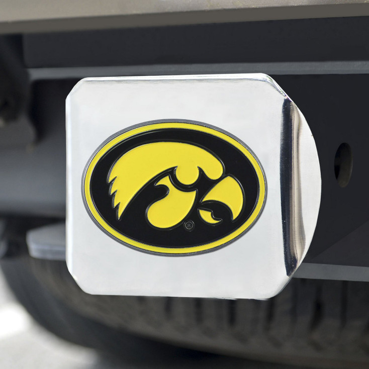 University of Iowa Color Hitch Cover - Chrome