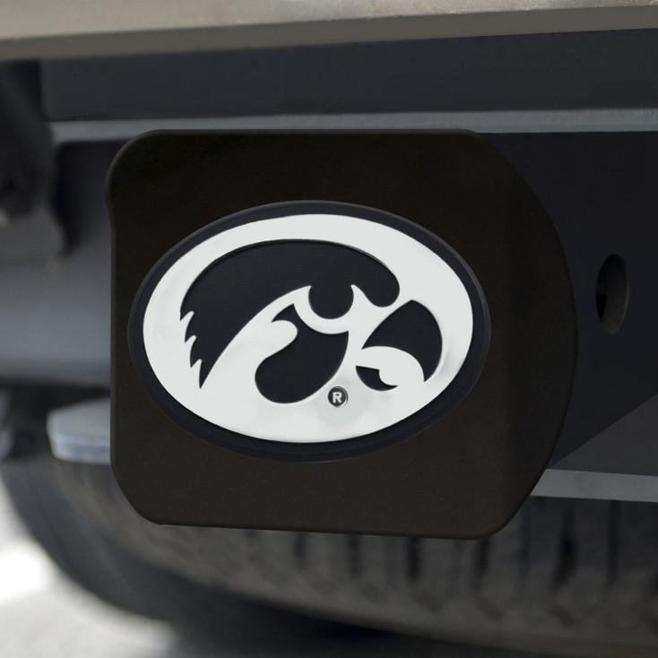 University of Iowa Hitch Cover - Chrome on Black