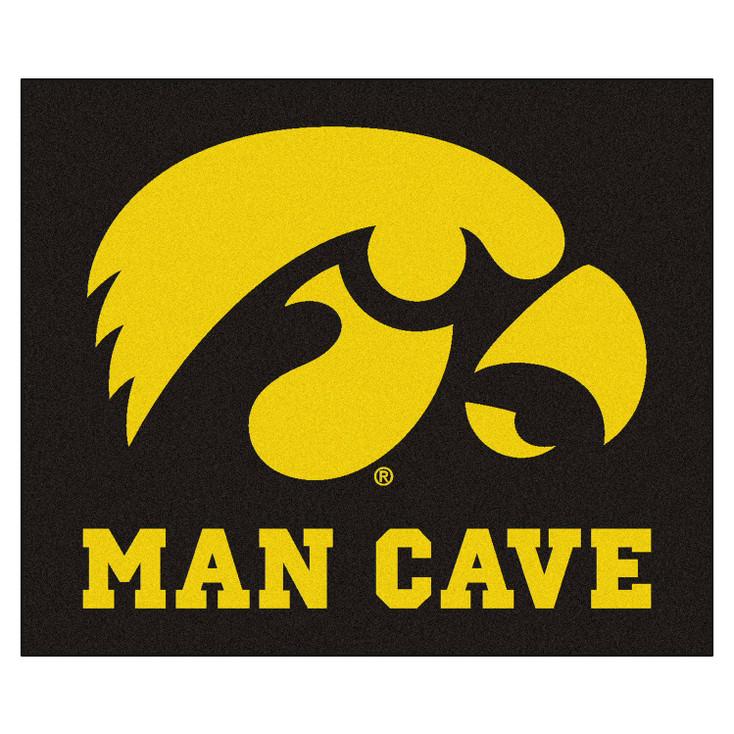 "59.5"" x 71"" University of Iowa Man Cave Tailgater Black Rectangle Mat"
