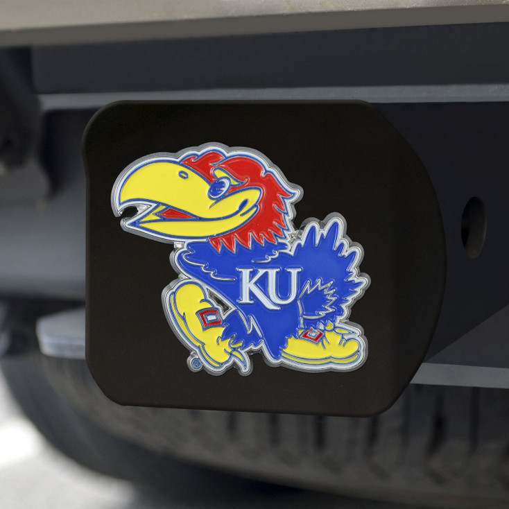 University of Kansas Hitch Cover - Color on Black