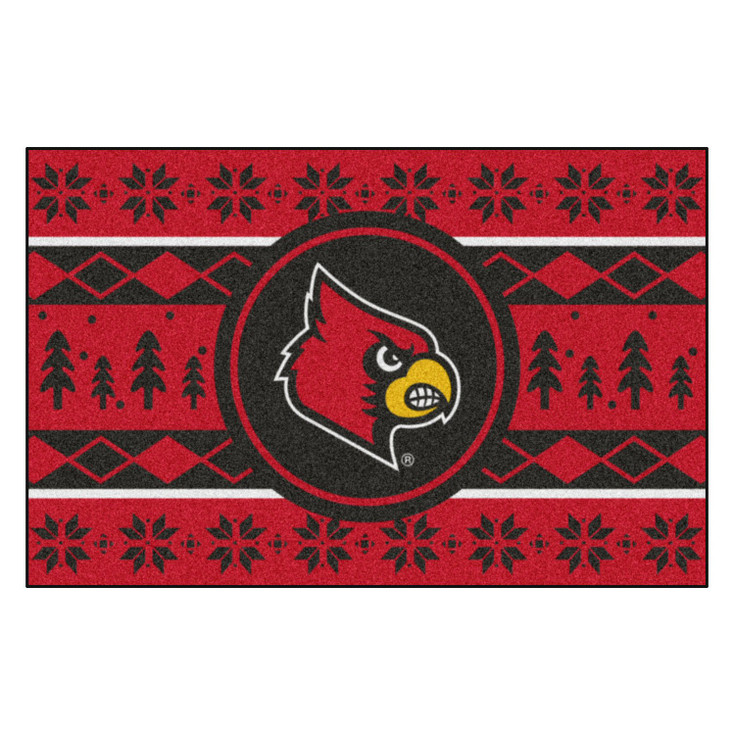 """19"""" x 30"""" University of Louisville Holiday Sweater Red Rectangle Starter Mat"""