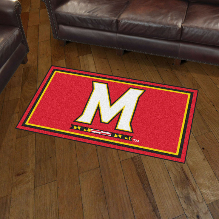 3' x 5' University of Maryland Red Rectangle Rug
