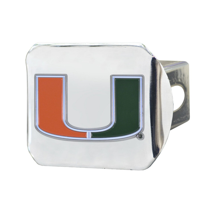 University of Miami Color Hitch Cover - Chrome