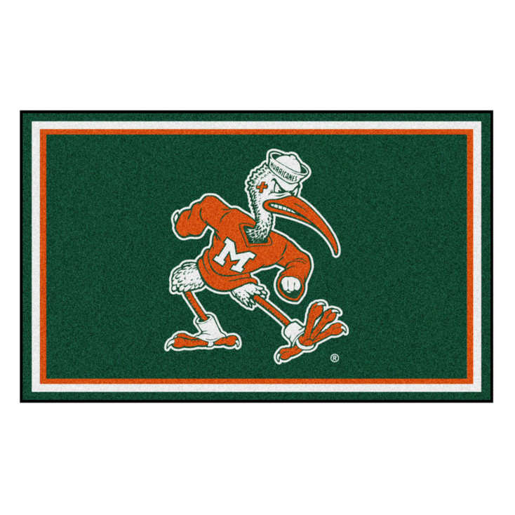 4' x 6' University of Miami Hurricanes Green Rectangle Rug