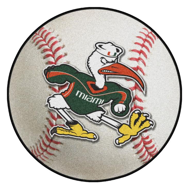 "27"" University of Miami Baseball Style Round Mat"