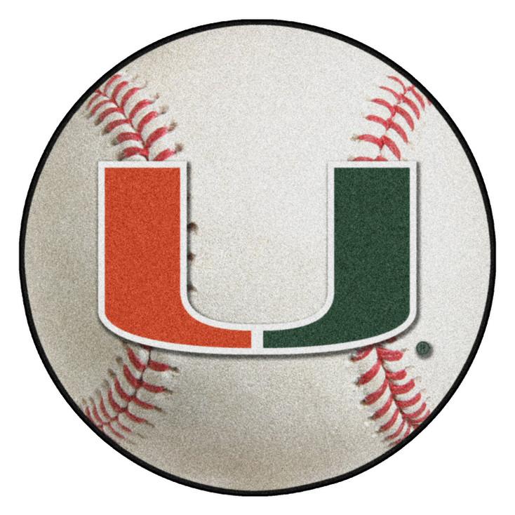 "27"" University of Miami Hurricanes Baseball Style Round Mat"