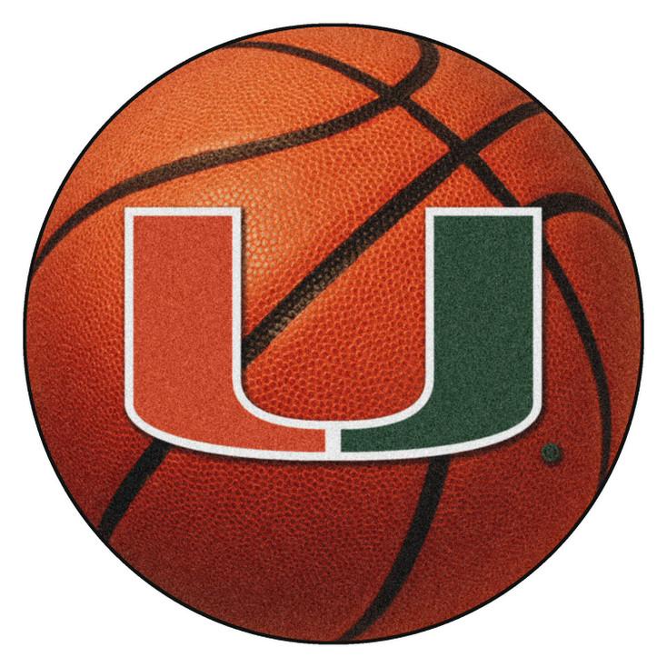 "27"" University of Miami Hurricanes Orange Basketball Style Round Mat"