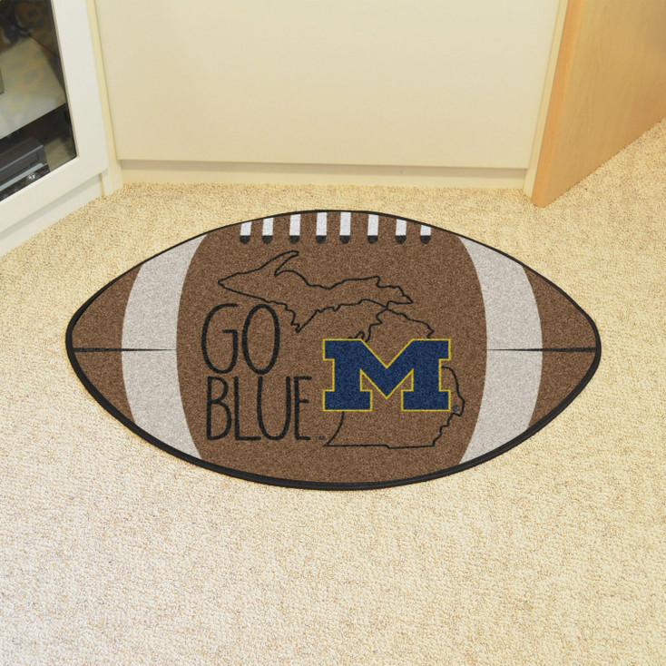"""20.5"""" x 32.5"""" University of Michigan Southern Style Football Shape Mat"""