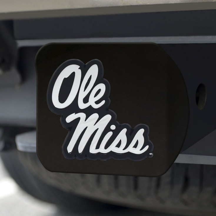 University of Mississippi (Ole Miss) Hitch Cover - Chrome on Black