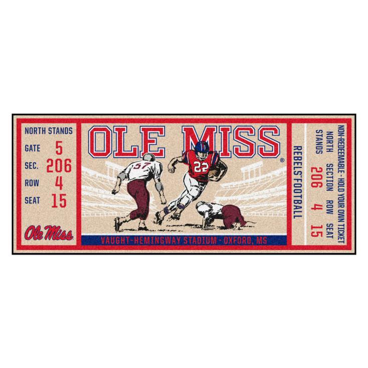 "30"" x 72"" University of Mississippi (Ole Miss) Ticket Rectangle Runner Mat"