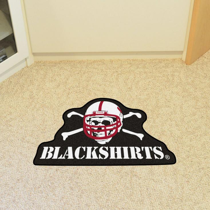 """University of Nebraska Mascot Mat - """"Blackshirts"""" Alternate Logo"""