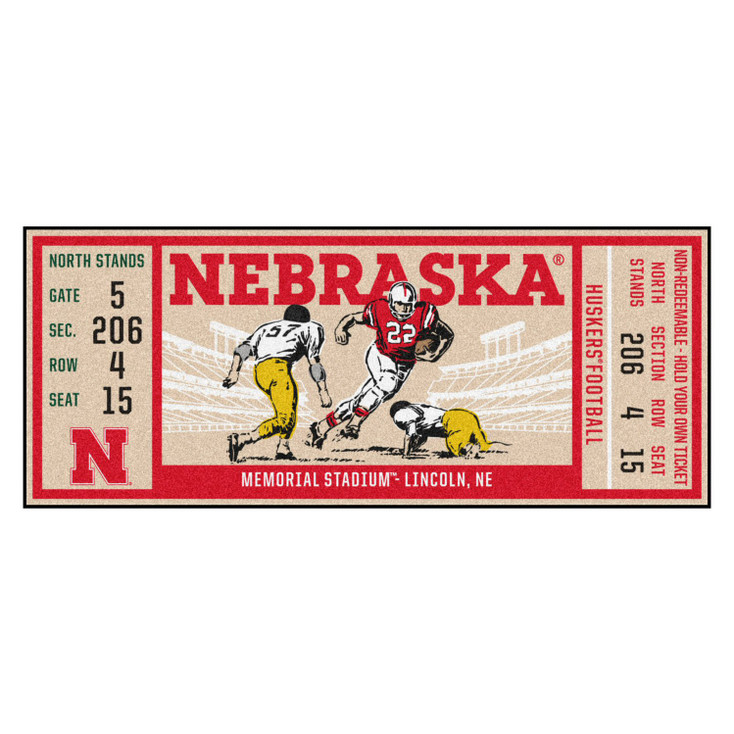 "30"" x 72"" University of Nebraska Ticket Rectangle Runner Mat"