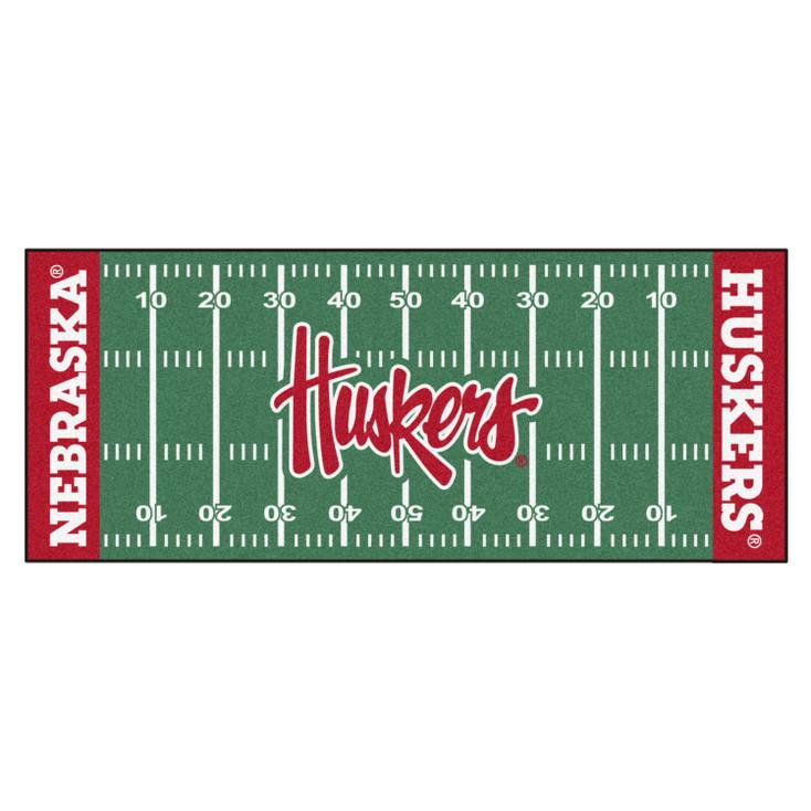 """30"""" x 72"""" University of Nebraska Huskers Logo Football Field Rectangle Runner Mat"""