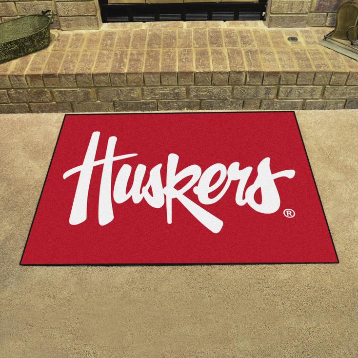 """33.75"""" x 42.5"""" University of Nebraska Huskers Logo All Star Red Rectangle Mat"""