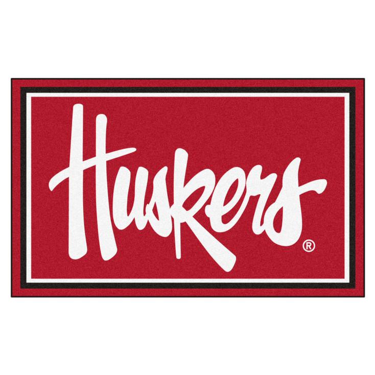 4' x 6' University of Nebraska Huskers Logo Red Rectangle Rug